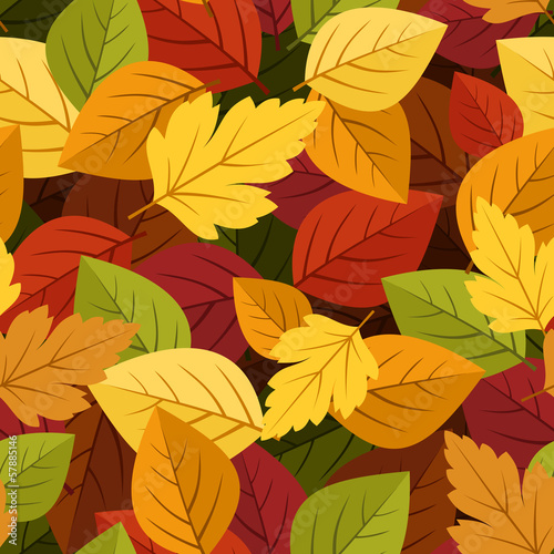 Seamless background with colorful autumn leaves. Vector