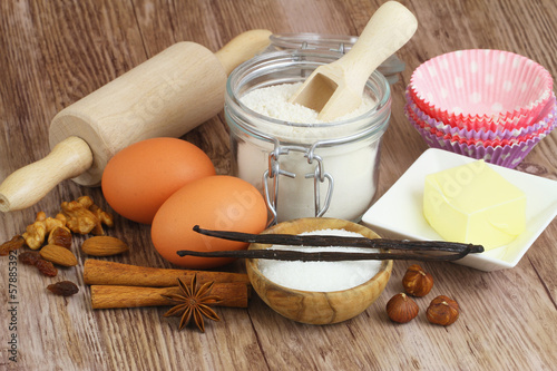 Selection of baking ingredients