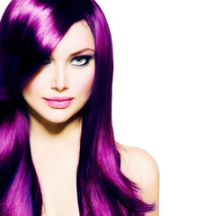 Beautiful Girl with Healthy Long Purple Hair and Blue Eyes