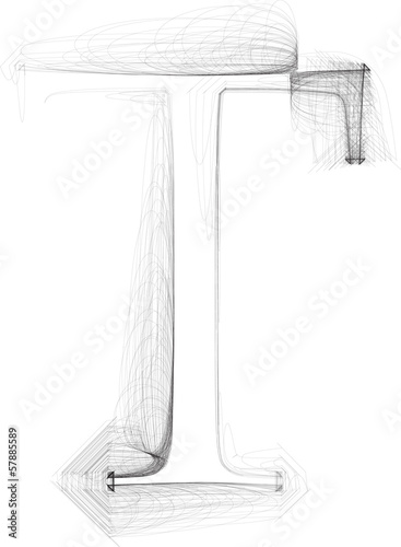 Hand draw font. LETTER T. Vector illustration