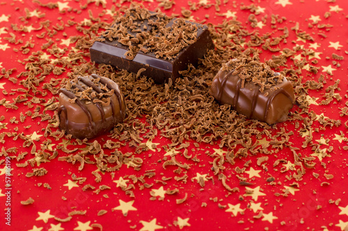 Delicious self-made pralines with grated chocolate
