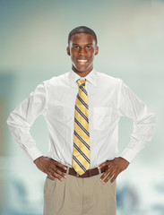 African American Businessman With Hands on Hips