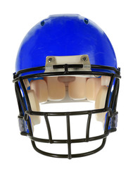 Blue Football Helmet - Front View