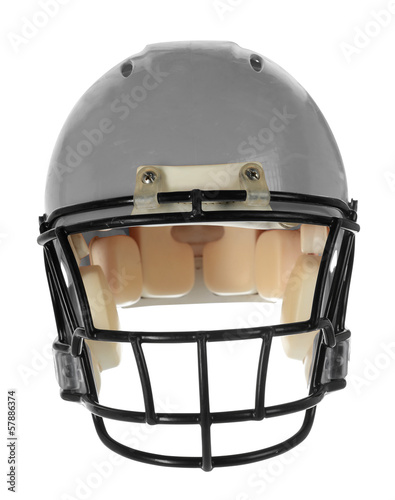Gray Football Helmet - Front View