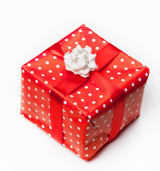 red gift box white background.
