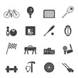 Silhouette Simple Sports gear and tools icons - vector icon set