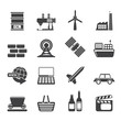 Silhouette Simple Business and industry icons - Vector Icon Set