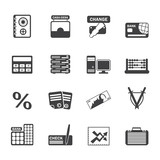 Silhouette bank, business, finance and office icons
