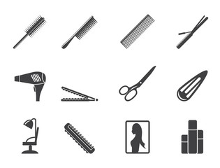 Silhouette hairdressing, coiffure and make-up icons