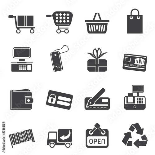 Silhouette Simple Online Shop icons - Vector Icon Set
