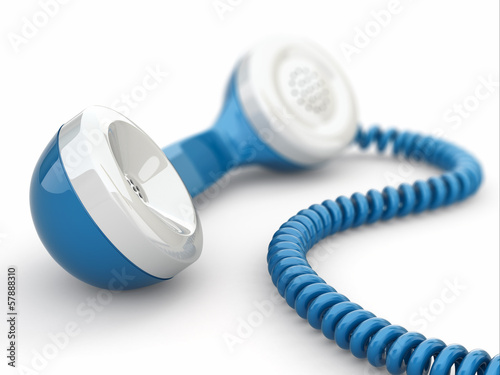 Blue telephone receiver.