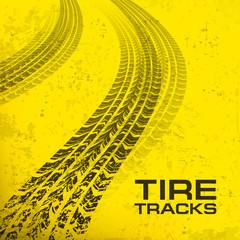Detail black tire tracks on yellow, vector illustration