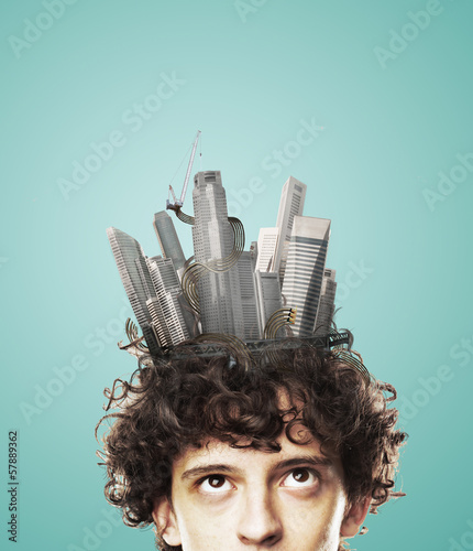head with skyscrapers