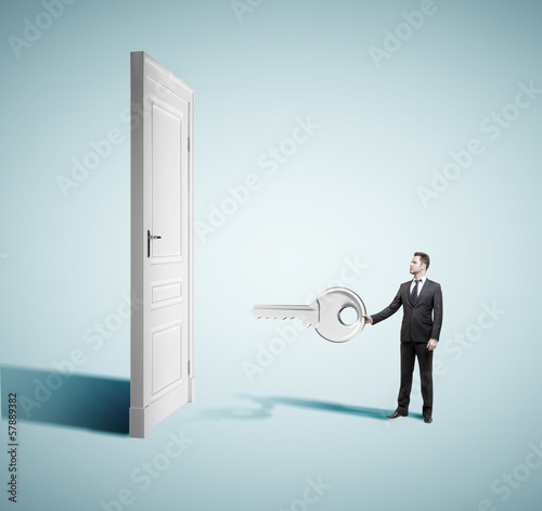 businesman closed door