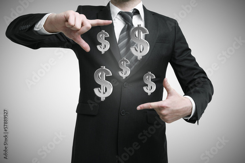 businessman with dollars symbol
