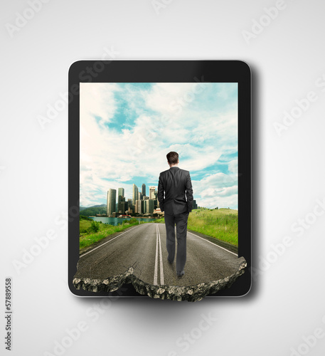 man walking on road
