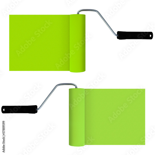 Green paint rollers with paint isolated on white - background