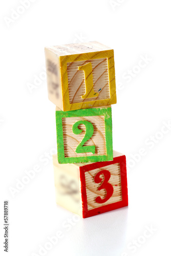 123 wooden blocks stack