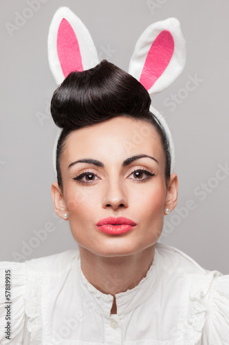 Close Up of sexy bunny girl face with makeup and hairstyle