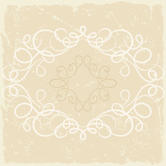 Background with ornamental curly frame in retro style.
