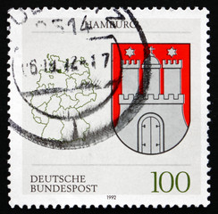 Postage stamp Germany 1992 Coat of Arms, Hamburg