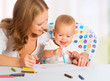 Mother and baby draw color pencil