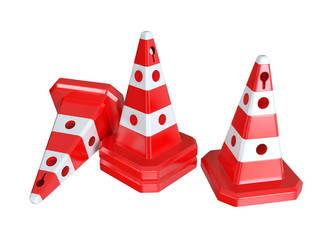 Traffic cones. 3D isolated