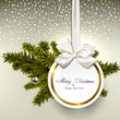 White paper gift card with satin bows.