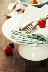 Table Setting with fresh berries