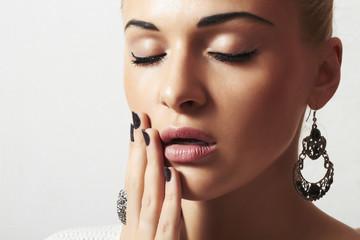 beautiful blond woman.Jewelry and Beauty.girl.manicure.close-up