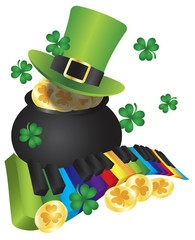 Leprechaun Hat with Piano Keys and Pot of Gold Vector