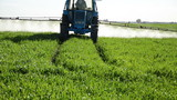 Tractor spray fertilize field with pesticide chemical in evening poster