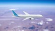 Commercial jet airplane flies at high altitude