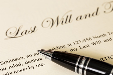 Last will and testament with pen concept for legal document
