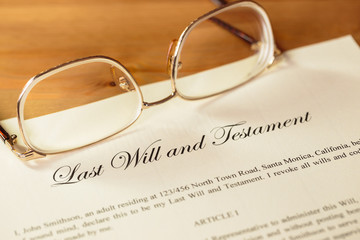Last will and testament with glasses concept for legal document