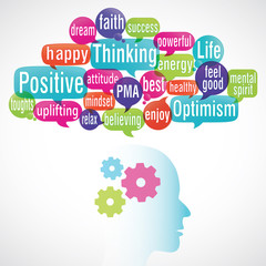 word cloud bubbles : positive thinking (cs5)