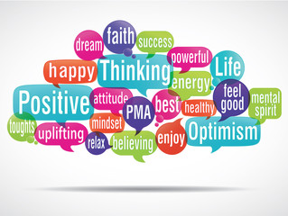 word cloud bubbles : positive thinking (cs5) v2