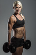 fitness girl with dumbells