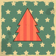 Christmas tree on retro background.