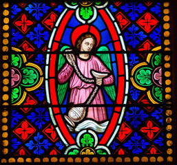 Angel with censer - stained glass in Bayeux