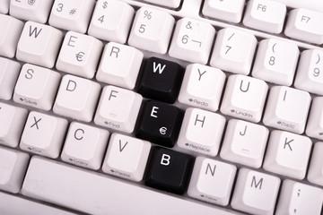 Word JOB written with black keys on computer keyboard.