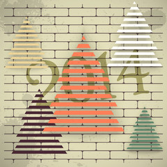 Christmas trees on an old brick wall