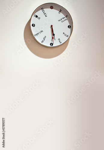 clock on background of wall with copy space