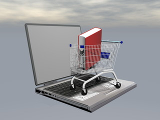 E-shopping for book - 3D render