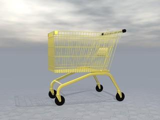 Golden shopping cart - 3D render