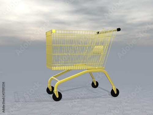 Golden shopping cart - 3D render