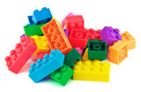 Toy colorful plastic blocks isolated on white background