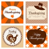 Set of cute Thanksgiving cards invitations, vector frames