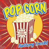 Fototapety Pop corn vintage poster