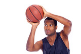 Portrait of a basketball player, isolated on a white background